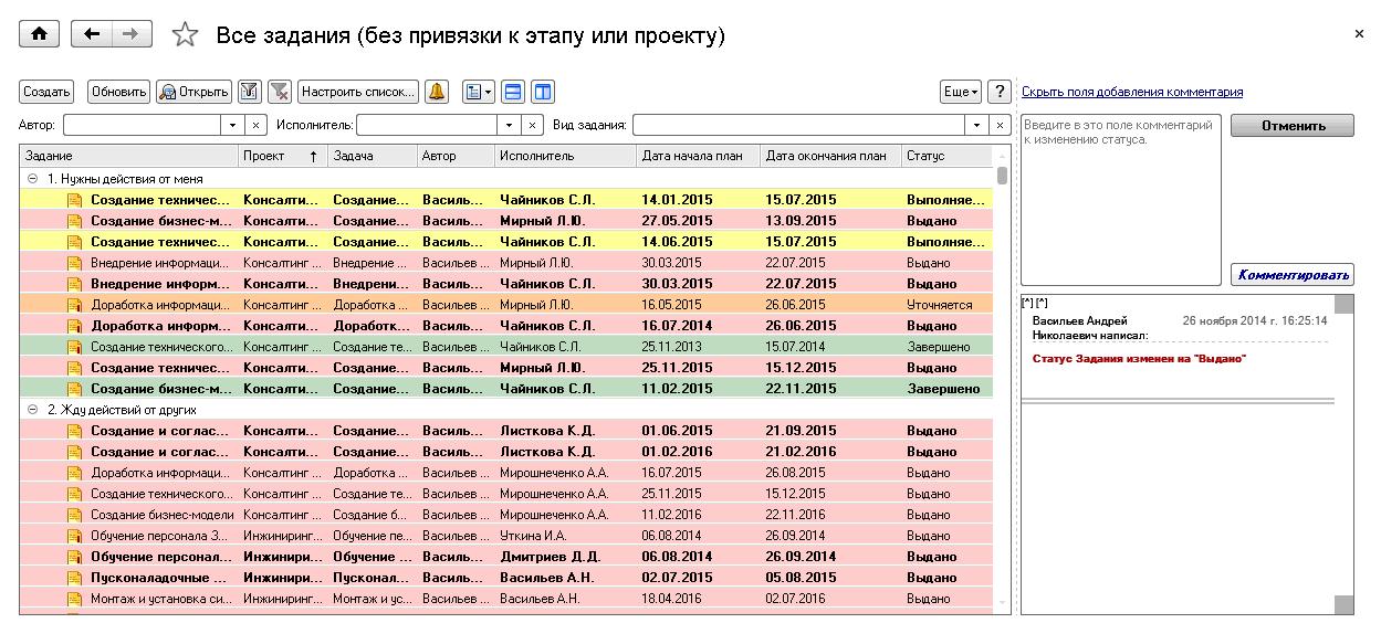 1С ДНР, 1С Донецк, Все задания (без привязи к этапу или проекту)
