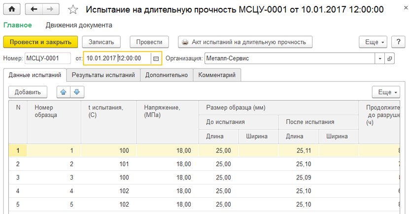1С ДНР, 1С Донецк, Испытание на длительную прочность МСЦУ-0001
