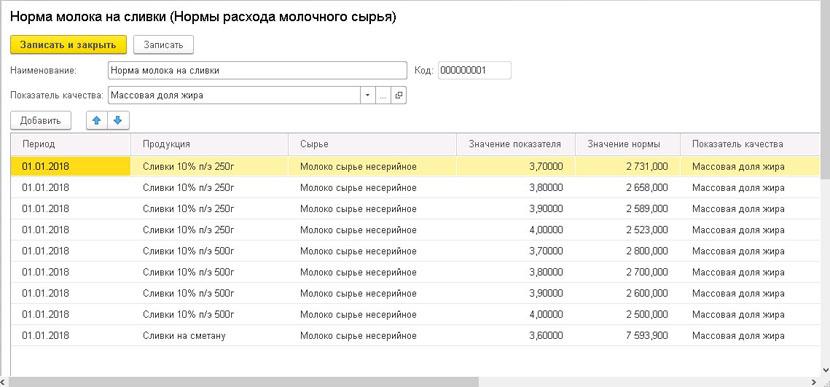 1С ДНР, 1С Донецк, Нормы расхода молочного сырья
