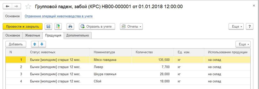 1С ДНР, 1С Донецк, Групповой падеж, забой (КРС)
