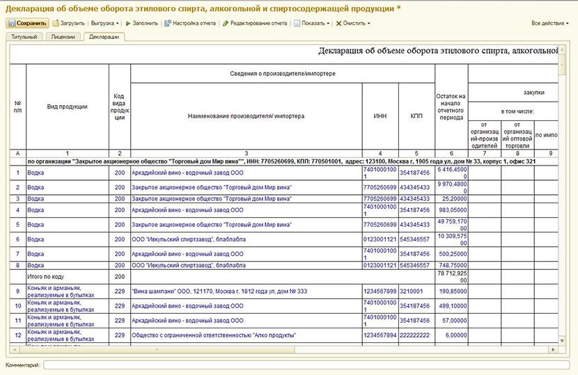 1С ДНР, 1С Донецк, Декларация об объеме оборота этилового спирта, алкогольной или спиртосодержащей продукции