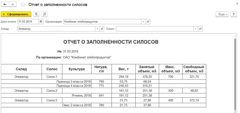 1С ДНР, 1С Донецк, Отчет о заполняемости силосов