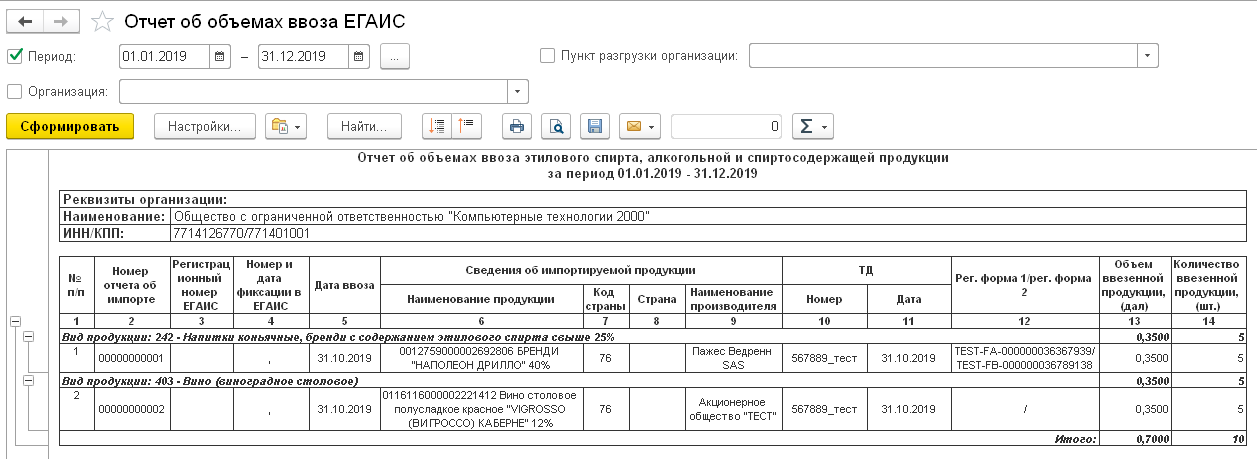 1С ДНР, 1С Донецк, Отчет об объемах ввоза ЕГАИС